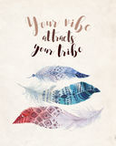 Hand drawn watercolor paintings vibrant feather background. Bohemian quotes Royalty Free Stock Image