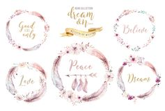 Hand drawn watercolor paintings vibrant feather wreath. Boho style rose wings. illustration isolated on white. Bird fly Stock Photo