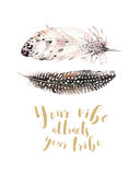 Hand drawn watercolor paintings vibrant feather set. Boho style wings. illustration isolated on white. Bird fly design. For T-shirt, invitation, wedding card Royalty Free Stock Photography