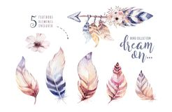 Hand drawn watercolor paintings vibrant feather set. Boho style wings. illustration isolated on white. Bird fly design Stock Images
