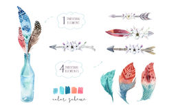Hand drawn watercolor paintings vibrant feather set. Boho style. Wings. illustration isolated on white. Bird fly design for T-shirt, invitation, wedding card Royalty Free Stock Images