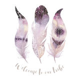 Hand drawn watercolor paintings vibrant feather set. Boho style Royalty Free Stock Image