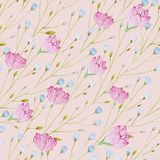 Pattern of watercolor thin twigs with blue and pink flowers on a pink background. vector illustration