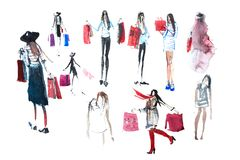 Hand drawn watercolor people with shopping bags. Fashion, sale. Hand drawn watercolor people with shopping bags. Fashion, sale stock photography