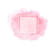 Hand drawn watercolor pink texture with square frame. Stock Image