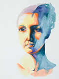 Hand drawn watercolor portrait of serene woman Stock Images