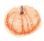Hand Drawn Watercolor Pumpkin. Cute hand drawn watercolor pumpkin that says Hello Fall stock illustration