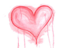 Hand drawn watercolor red heart lovely grunge background Stock Image