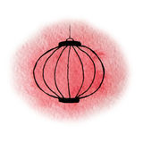 Hand drawn watercolor red shining chinese lantern. On the white background Royalty Free Stock Images