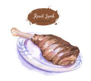 Roast lamb. Hand-drawn watercolor roast lamb isolated on the white background. Easter holiday dish Stock Image