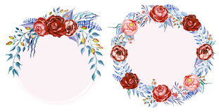 Hand drawn watercolor roses clip art Stock Photography