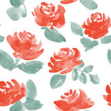 Hand drawn watercolor roses. vector seamless pattern. Royalty Free Stock Image