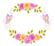 Hand drawn watercolor round frame painting with pink and yellow roses flowers bouquet and butterflies isolated on white background