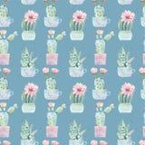 Hand drawn watercolor saguaro cactuses seamless pattern Stock Images