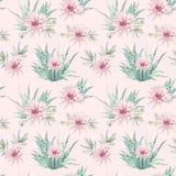Hand drawn watercolor saguaro cactuses seamless pattern Stock Photo