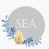 Hand drawn watercolor sea card. With water plant Royalty Free Stock Photography