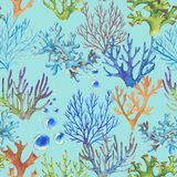 Sea pattern. Hand-drawn watercolor sea pattern with corals. Underwater repeated background Stock Illustration