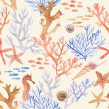 Hand-drawn watercolor sea pattern with underwater object. Underwater repeated background Stock Photo
