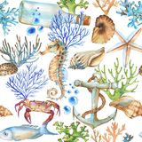 Hand-drawn watercolor sea pattern with underwater object Royalty Free Stock Photos