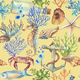 Hand-drawn watercolor sea pattern with underwater object Stock Photos
