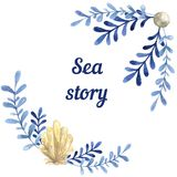 Hand drawn watercolor sea story card. With water Royalty Free Stock Photos