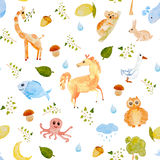 Hand drawn watercolor seamless Animal Pattern Royalty Free Stock Photos