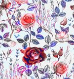 Hand-drawn watercolor seamless botanical pattern with different plants stock illustration