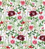 Hand-drawn watercolor seamless botanical pattern with different plants. Repeated natural background: lavender, rose, dog rose vector illustration