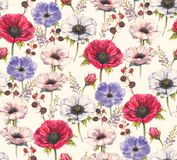 Hand-drawn watercolor seamless floral pattern with beautiful anemones and berries stock illustration