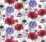 Hand-drawn watercolor seamless floral pattern with beautiful anemones. And hyacinth flowers. Repeated print with blossom for the wrapping paper, textile and Stock Illustration