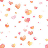 Hand drawn watercolor seamless Heart Pattern vector illustration