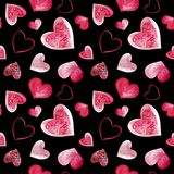 Watercolor illustration of pink love hearts background. Seamless pattern isolated on black background.