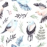 Hand drawn watercolor seamless pattern. Background with cute spr. Ing birds, ferns and green branches. Perfect for wrapping paper, fabric, linens, invitations Royalty Free Stock Photos