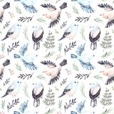 Hand drawn watercolor seamless pattern. Background with cute spr. Ing birds, ferns and green branches. Perfect for wrapping paper, fabric, linens, invitations Royalty Free Stock Images