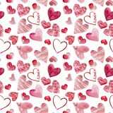 Happy Valentine`s Day watercolor hearts background illustration. Seamless pattern vector illustration