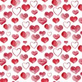 Happy Valentines Day watercolor hearts background illustration. Seamless pattern. stock image