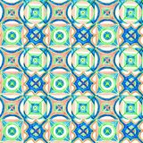 Hand-drawn watercolor seamless pattern. Blue, orange, green stock illustration
