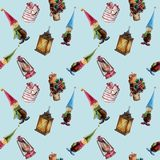 Hand-drawn watercolor seamless pattern. Christmas decorations, lanterns, gifts, gnomes. Suitable for printing on textiles,. Wrapping paper, greeting cards vector illustration