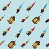 Hand-drawn watercolor seamless pattern. Christmas decorations, lanterns, gifts, gnomes. Suitable for printing on textiles,. Wrapping paper, greeting cards stock illustration
