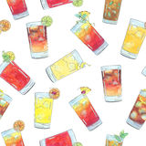 Hand drawn watercolor seamless pattern with cocktails with fruits and berries Royalty Free Stock Photo