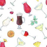 Hand drawn watercolor seamless pattern with cocktails with fruits and berries Stock Photos