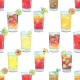 Hand drawn watercolor seamless pattern with cocktails with fruits and berries Stock Images