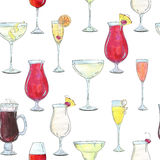 Hand drawn watercolor seamless pattern with cocktails with fruits and berries Royalty Free Stock Photography