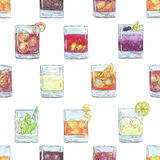 Hand drawn watercolor seamless pattern with cocktails  Royalty Free Stock Photos