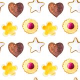 Watercolor pattern of cookies stock illustration