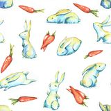Easter pattern. Hand-drawn watercolor seamless pattern with cute little Easter bunnies on the white background. Repeated print with rabbits and carrots Royalty Free Illustration
