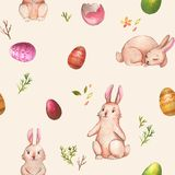 Watercolor Easter pattern. Hand-drawn watercolor seamless pattern with cute little Easter bunnies on the white background. Repeated print with rabbits and Vector Illustration