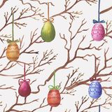 Watercolor Easter pattern. Hand-drawn watercolor seamless pattern with Easter eggs on the willow branches. Repeated print with colored eggs Stock Illustration