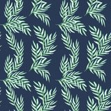Hand drawn watercolor seamless pattern of foliage natural branches, green leaves on blue background stock illustration