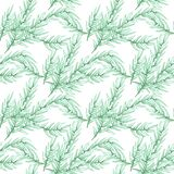 Hand drawn watercolor seamless pattern of foliage natural branches, green leaves on white background. Design for printing , wallpaper, paper, postcard, tile stock illustration